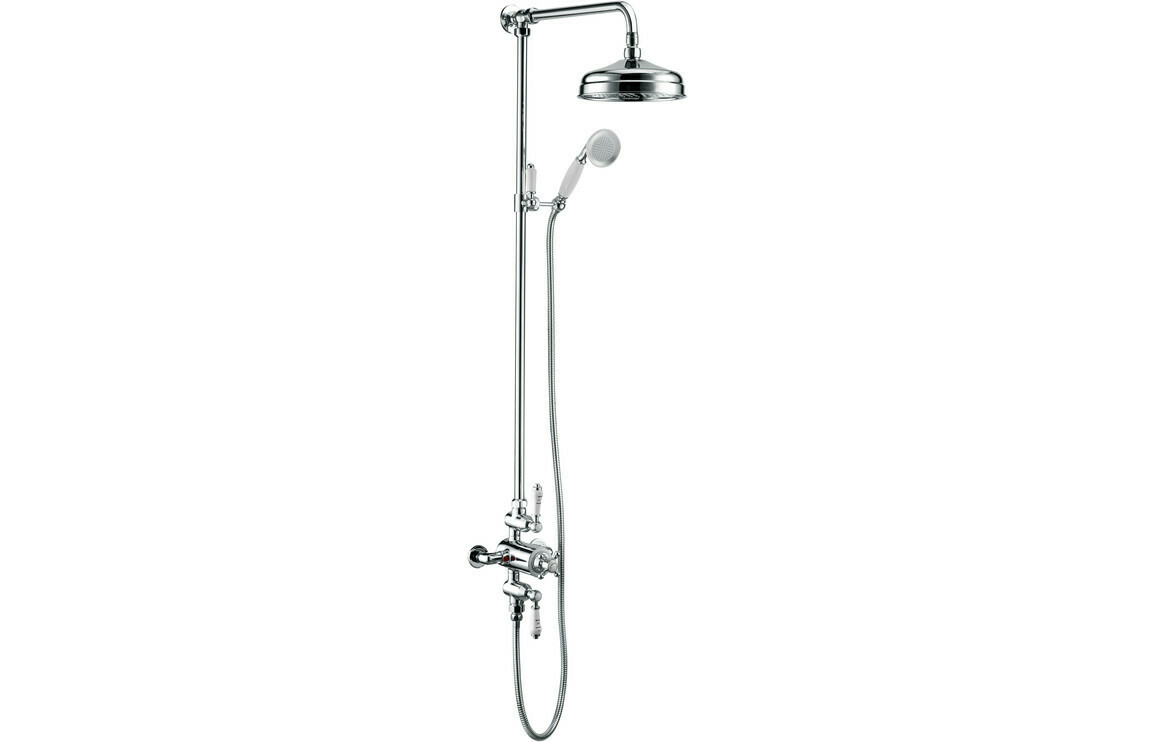 Traditional Exposed Twin Outlet Shower w/Shower Head & Riser Kit