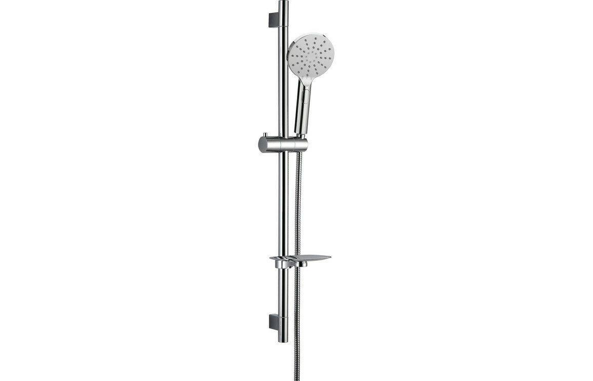 Round Push Button Shower Kit - Chrome