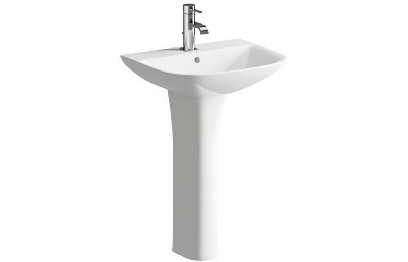 Cedarwood 560x450mm 1TH Basin & Full Pedestal (Boxed)