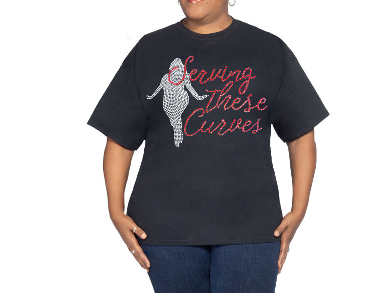 Serving All The Curves Black T Shirt