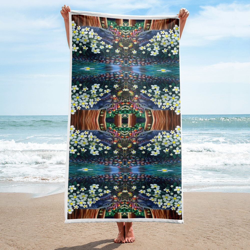 """Jovial Jungle"" Beach Towel"