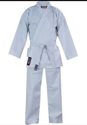 7oz White Karate Gi (Adult) - 160cm - Small Hole by the Badge Brand New