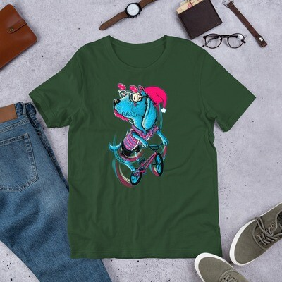 Christmas biker pug dog Short-Sleeve Unisex T-Shirt