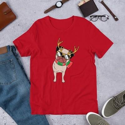 Christmas winter dog pug puppy reindeer American Short-Sleeve Unisex T-Shirt