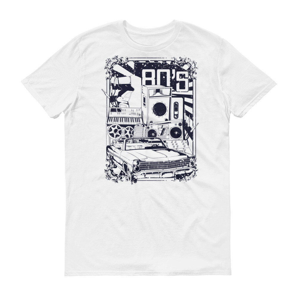 80s vintage car and radio Short-Sleeve T-Shirt