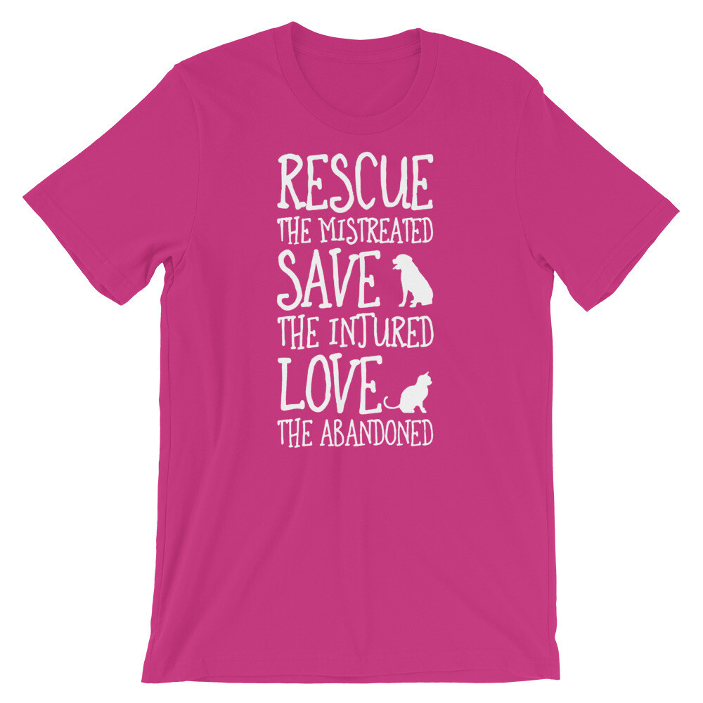 Rescue the mistreated save the injured love the abandoned Cat Short-Sleeve Unisex T-Shirt