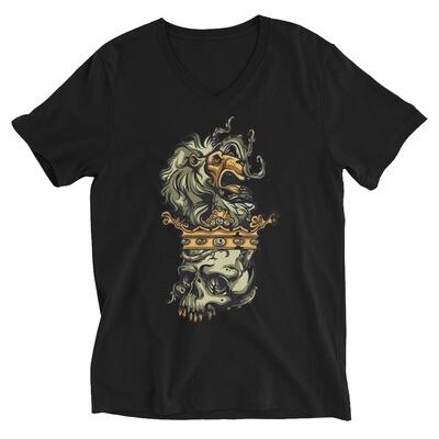 Skull tiger head Unisex Short Sleeve V-Neck T-Shirt