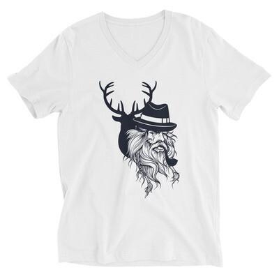 Deer santa man Unisex Short Sleeve V-Neck T-Shirt