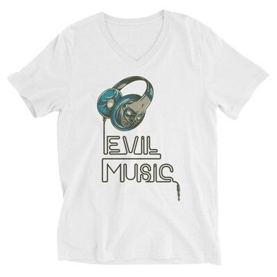 Evil music Unisex Short Sleeve V-Neck T-Shirt