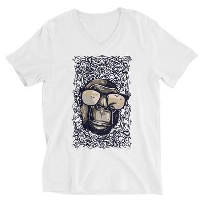 Rock chimp art Unisex Short Sleeve V-Neck T-Shirt