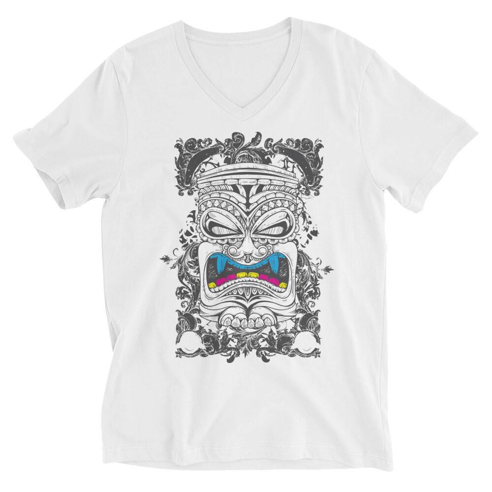 Yellow blue teeth monster art Unisex Short Sleeve V-Neck T-Shirt