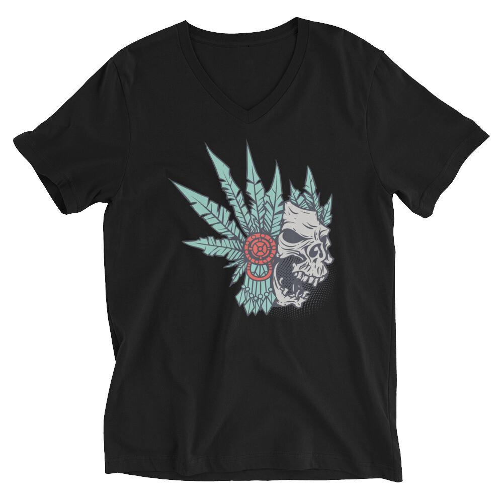Indian SKull and rose Unisex Short Sleeve V-Neck T-Shirt