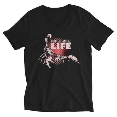 Biomechanical life scorpion Unisex Short Sleeve V-Neck T-Shirt