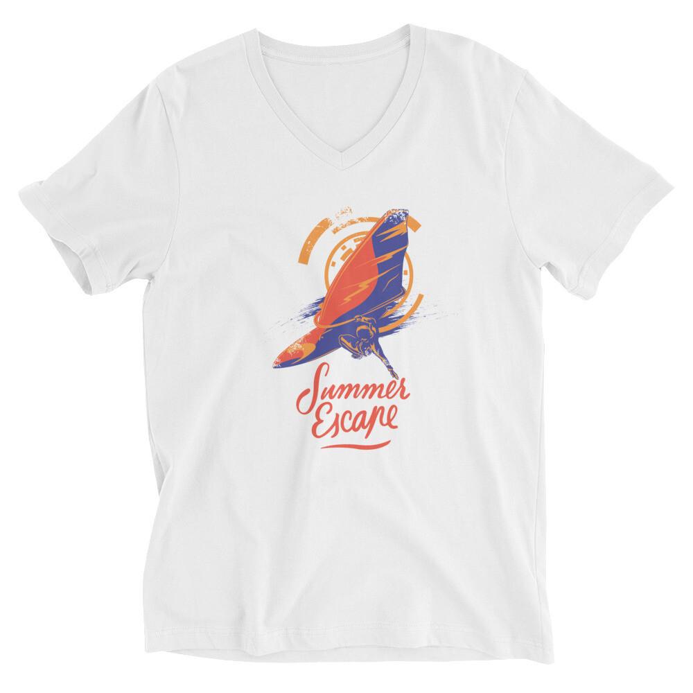 Summer escape boat sailing bird Unisex Short Sleeve V-Neck T-Shirt