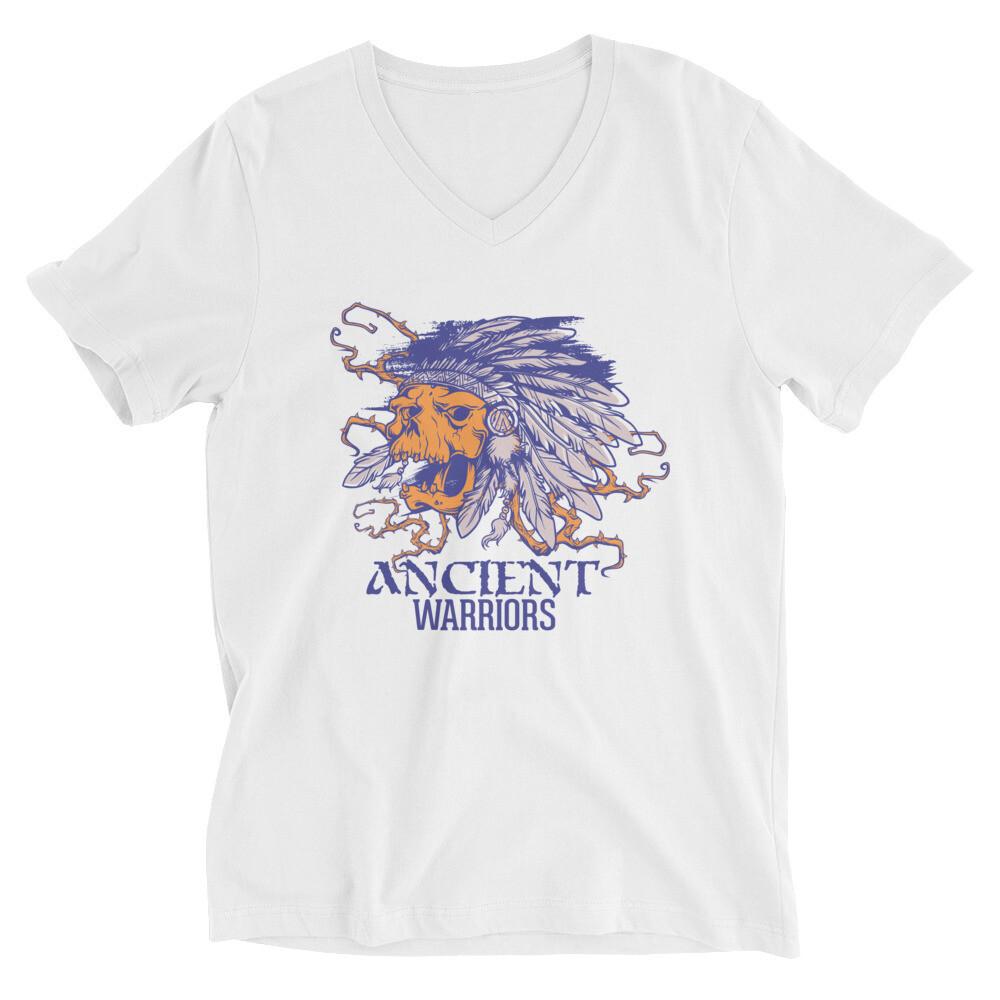 Indian Ancient warriors skull Unisex Short Sleeve V-Neck T-Shirt