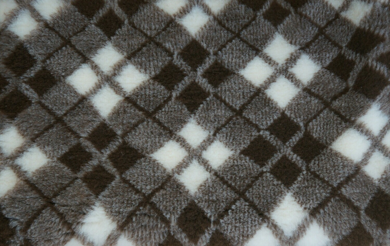 {Single Sheets} : Ultra Premium - Non-Slip Backing : Two Tone Brown & White Diamond Tartan  -  Ref : (6307)