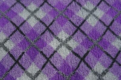 {15 x Metre Roll} : Ultra Premium - Non Slip Backing :  Two Tone Purple and Grey with Black Diamond Tartan - Ref : (6236)