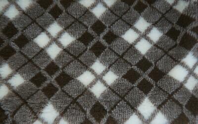 {15 x Metre Roll} : Ultra Premium - Non Slip Backing :  Two Tone Brown and White Diamond Tartan - Ref : (6307)
