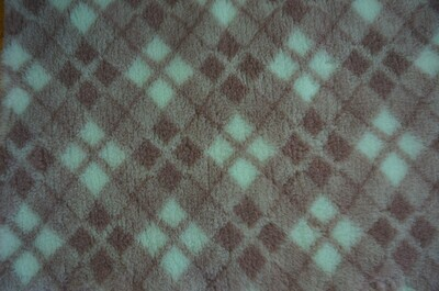 {15 x Metre Roll} : Ultra Premium - Non Slip Backing :  Mint Green, Mink and Brown Diamond Tartan - Ref : (6366)