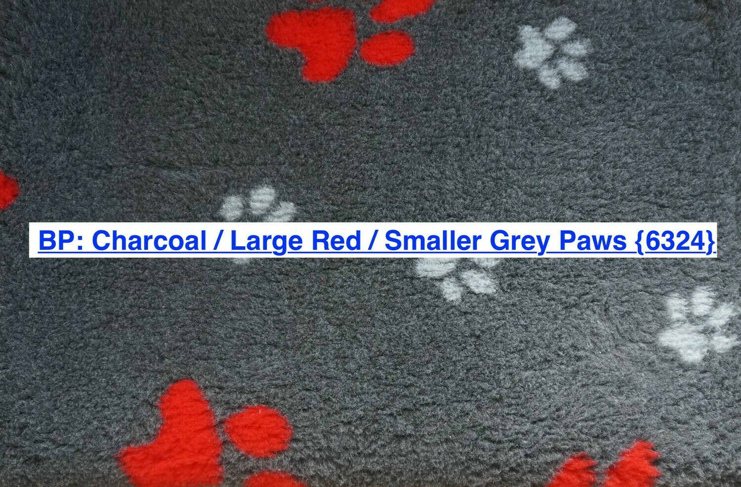 {15 x Metre Roll} : Ultra Premium - Non Slip Backing :  Big Paw : Charcoal with Large Red and Smaller Grey Paws - Ref : (6324)