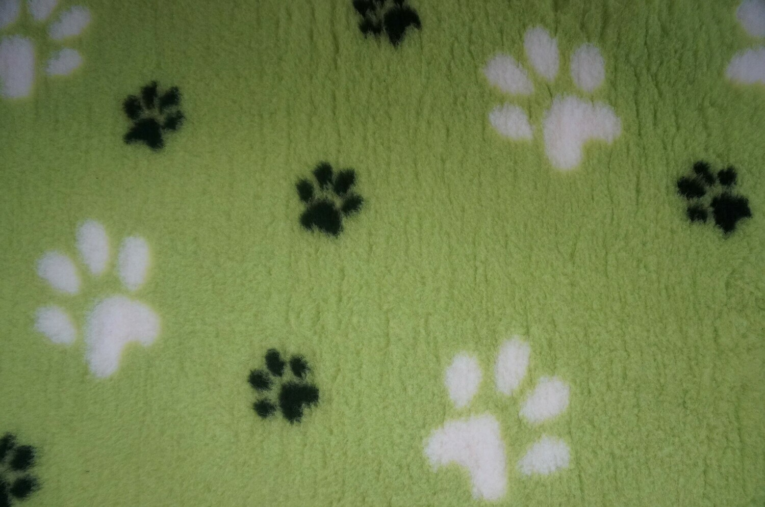{15 x Metre Roll} : Ultra Premium - Non Slip Backing :  Big Paw : Lime Green with Large White and Smaller Black Paws - Ref : (6496)