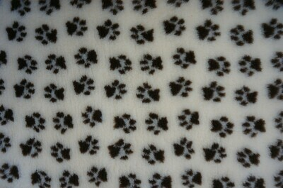 {15 x Metre Roll} : Ultra Premium - Non Slip Backing :  Wheat and Dark Brown Paws - Ref : (6286)