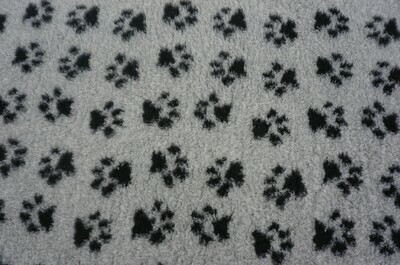 {15 x Metre Roll} : Ultra Premium - Non Slip Backing :  Grey with Black Paws - Ref : (6332)