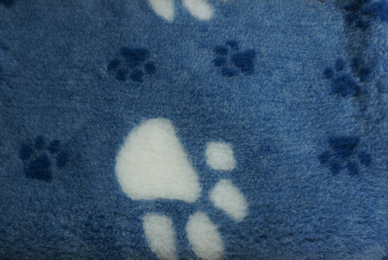 { Single Sheets }  Ultra Premium Non-Slip Backing Original Vet Bedding Fleece : Big Paw - Navy with Large White and Smaller Dark Blue Paws - Ref : (6264)