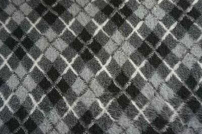{ Single Sheets }  Ultra Premium Non-Slip Backing Original Vet Bedding Fleece : Light and Dark Greys with Black Diamond Tartan - Ref : (6336)