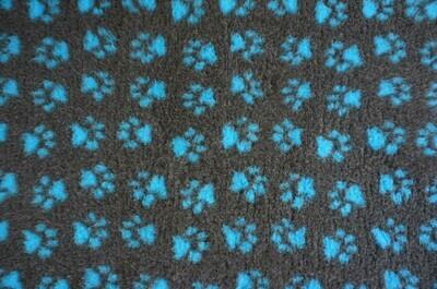 { Single Sheets }  Ultra Premium Non-Slip Backing Original Vet Bedding Fleece : Charcoal with Teal Blue Paws - Ref : (6380)