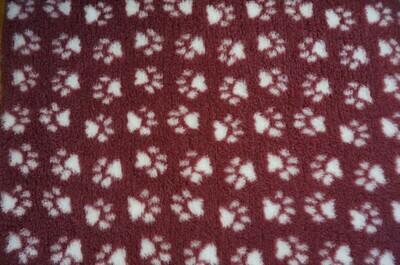 { Single Sheets } Ultra Premium Non-Slip Backing Original Vet Bedding Fleece : Burgundy with White Paws - Ref : (6334)