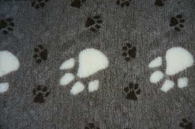 {Single Sheets} : Ultra Premium - Non-Slip Backing : Big Paw : Dark Grey with Large White and Smaller Black Paws  - Ref : (6296)