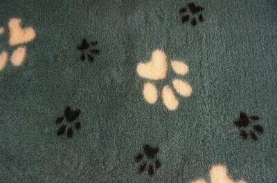 {15 x Metre Roll} : Ultra Premium - Non Slip Backing :  Big Paw : Green with Large Yellow and Smaller Black Paws - Ref : (6379)