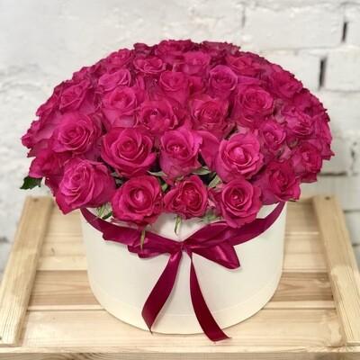 51 малиновая роза в коробке