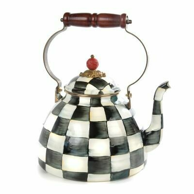 Courtly Check Enamel Tea Kettle - 3qt
