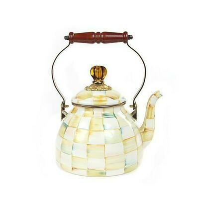 Parchment Check Enamel Tea Kettle - 2qt