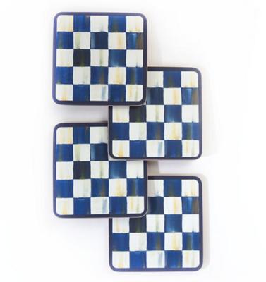 Royal Check Cork Back Coasters - Set of 4