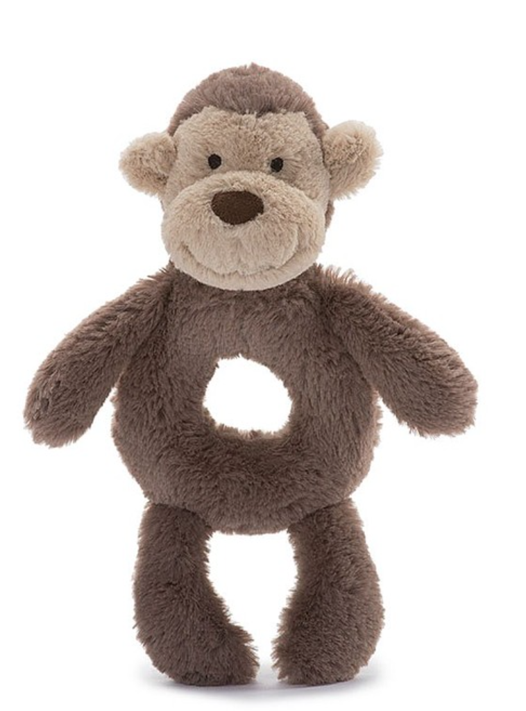 Bashful Monkey Ring Rattle #MK4GR