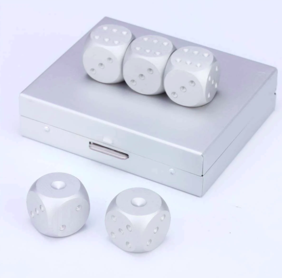 Brushed Stainless Dice Set