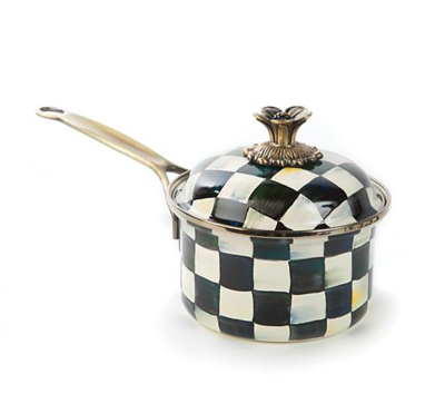 courtly check enamel 1qt. saucepan