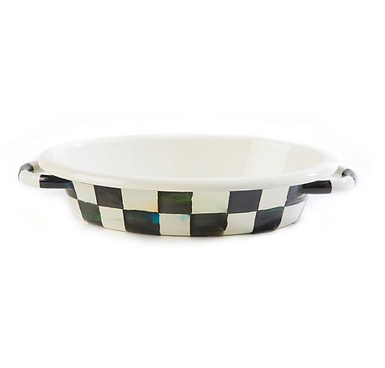Courtly Check Enamel Oval Gratin Dish - Small