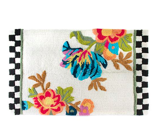 Flower Market Bath Rug White - Large