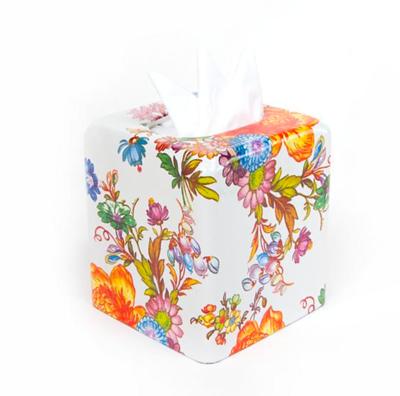 Flower Market Boutique Tissue Box Cover White