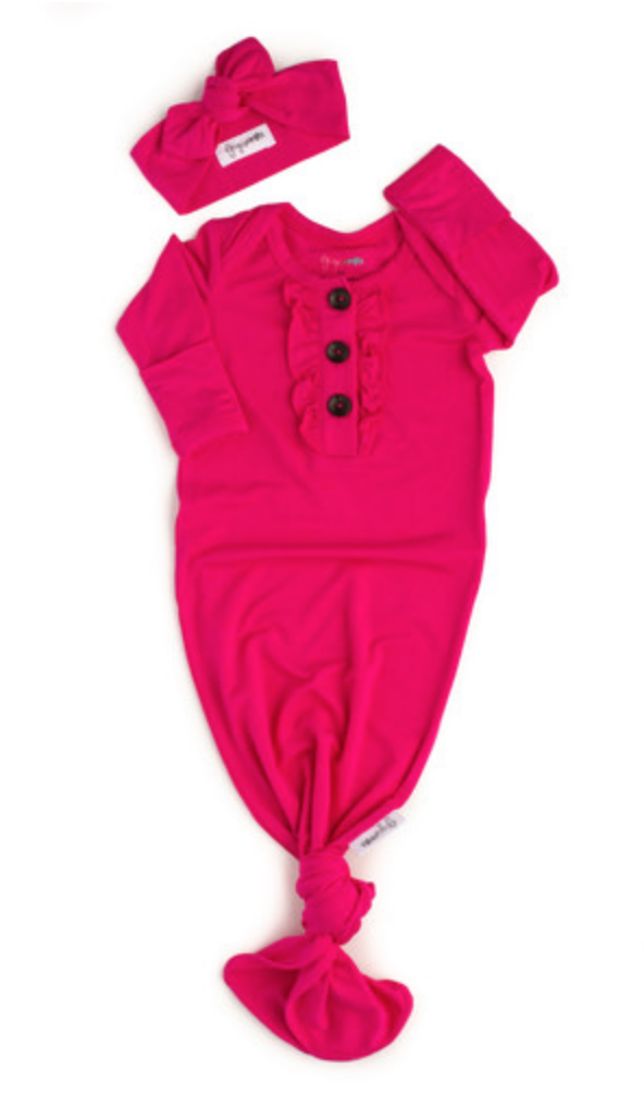 Penelope Ruffle Knotted Button Gown & Headband