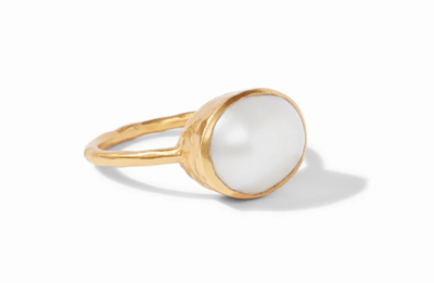 R142GPL - 6 - Honey Stacking Ring Gold Shell Pearl Size 6
