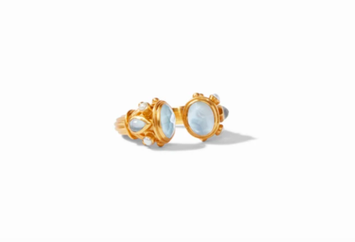 R118GICAPL-... Byzantine Ring Gold Iridescent Chalcedony Blue with Pearl Accents Size 8/9