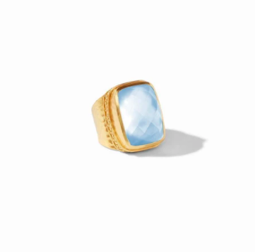 R129GICA -6/7 Catalina Statement Ring Gold Iridescent Chalcedony Blue Size 6/7