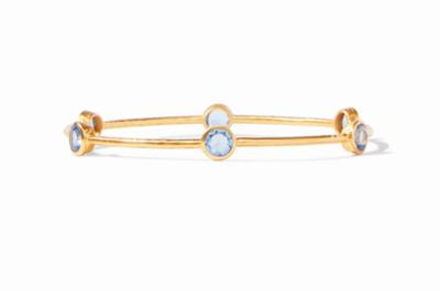 BG047GICA-M Milano Bangle Gold Clear Chalcedony Blue Medium