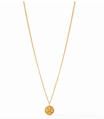 N333GPL00 Paris Charm Necklace Gold Pearl