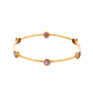 BG047GAM-M Milano Bangle Gold Amethyst Purple Medium